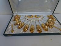 Robj. Paris. Art Deco Set of 12 Knife Rests and Salts. Designed by Edouard Sandoz. Original Case (10 of 15)