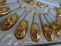 Robj. Paris. Art Deco Set of 12 Knife Rests and Salts. Designed by Edouard Sandoz. Original Case (2 of 15)