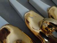 Robj. Paris. Art Deco Set of 12 Knife Rests and Salts. Designed by Edouard Sandoz. Original Case (12 of 15)