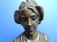 Bronze Art Nouveau Bust by Eutrope Bouret French. Signed (8 of 12)
