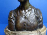 Bronze Art Nouveau Bust by Eutrope Bouret French. Signed (10 of 12)