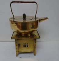 Jan Eisenloffel Brass Kettle on Stand with Spirit Burner. Secessionist. Early 20th Century (2 of 16)