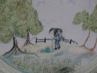 Clarice Cliff Crayon Scenes Plate.  'Hiker' (3 of 10)