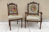 Pair of 19th Century French Fauteuils Tapestry Antique Carved Chairs