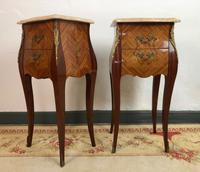 French Marquetry Bedside Tables Cabinets with Marble Tops Louis XV Bombe Style (6 of 14)