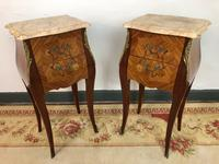 French Marquetry Bedside Tables Cabinets with Marble Tops Louis XV Bombe Style (4 of 14)
