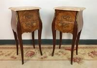 French Marquetry Bedside Tables Cabinets with Marble Tops Louis XV Bombe Style (3 of 14)
