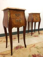 French Marquetry Bedside Tables Cabinets with Marble Tops Louis XV Bombe Style (14 of 14)
