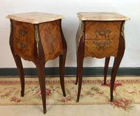 French Marquetry Bedside Tables Cabinets with Marble Tops Louis XV Bombe Style (5 of 14)