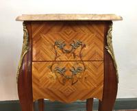 French Marquetry Bedside Tables Cabinets with Marble Tops Louis XV Bombe Style (10 of 14)