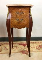 French Marquetry Bedside Tables Cabinets with Marble Tops Louis XV Bombe Style (11 of 14)