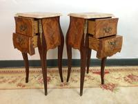 French Marquetry Bedside Tables Cabinets with Marble Tops Louis XV Bombe Style (7 of 14)