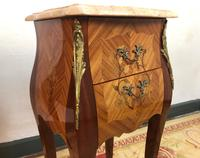 French Marquetry Bedside Tables Cabinets with Marble Tops Louis XV Bombe Style (12 of 14)