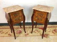 French Marquetry Bedside Tables Cabinets with Marble Tops Louis XV Bombe Style (2 of 14)