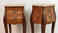 French Marquetry Bedside Tables Cabinets with Marble Tops Louis XV Bombe Style (9 of 14)
