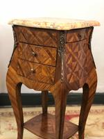 French Marquetry Bedside Tables Cabinets with Marble Tops Louis XVI Bombe Style (13 of 17)
