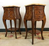 French Marquetry Bedside Tables Cabinets with Marble Tops Louis XVI Bombe Style (3 of 17)