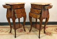 French Marquetry Bedside Tables Cabinets with Marble Tops Louis XVI Bombe Style (9 of 17)
