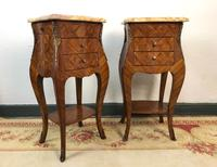 French Marquetry Bedside Tables Cabinets with Marble Tops Louis XVI Bombe Style (7 of 17)