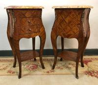 French Marquetry Bedside Tables Cabinets with Marble Tops Louis XVI Bombe Style (5 of 17)