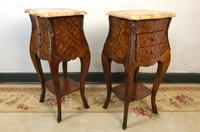 French Marquetry Bedside Tables Cabinets with Marble Tops Louis XVI Bombe Style (4 of 17)