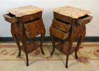 French Marquetry Bedside Tables Cabinets with Marble Tops Louis XVI Bombe Style (10 of 17)