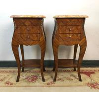 French Marquetry Bedside Tables Cabinets with Marble Tops Louis XVI Bombe Style (2 of 17)