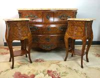 French Marquetry Bedside Tables Cabinets with Marble Tops Louis XVI Bombe Style (17 of 17)
