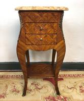 French Marquetry Bedside Tables Cabinets with Marble Tops Louis XVI Bombe Style (11 of 17)