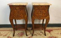 French Marquetry Bedside Tables Cabinets with Marble Tops Louis XVI Bombe Style (6 of 17)