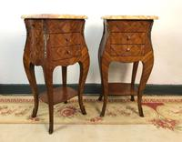 French Marquetry Bedside Tables Cabinets with Marble Tops Louis XVI Bombe Style (8 of 17)