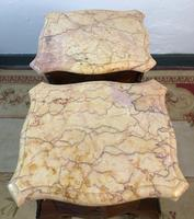 French Marquetry Bedside Tables Cabinets with Marble Tops Louis XVI Bombe Style (14 of 17)