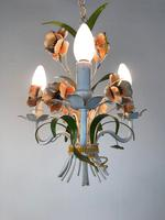 Vintage French Petite 3 Arm Toleware Chandelier Ceiling Light (5 of 12)