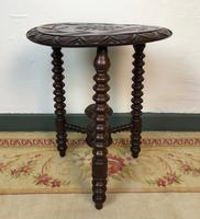 Antique Pair of Gypsy Bobbin End Tables with Carved Tops 19th Century (9 of 12)