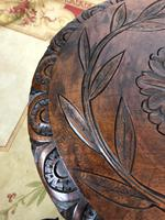 Antique Pair of Gypsy Bobbin End Tables with Carved Tops 19th Century (12 of 12)