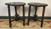 Antique Pair of Gypsy Bobbin End Tables with Carved Tops 19th Century (4 of 12)
