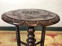 Antique Pair of Gypsy Bobbin End Tables with Carved Tops 19th Century (7 of 12)