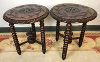 Antique Pair of Gypsy Bobbin End Tables with Carved Tops 19th Century (2 of 12)