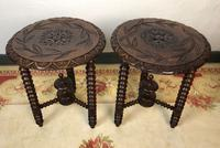 Antique Pair of Gypsy Bobbin End Tables with Carved Tops 19th Century