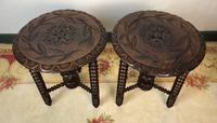 Antique Pair of Gypsy Bobbin End Tables with Carved Tops 19th Century (3 of 12)