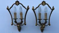 French Gilded Bronze Twin Light Sconces Wall Lights with Curvaceous Glass (3 of 12)