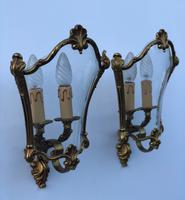 French Gilded Bronze Twin Light Sconces Wall Lights with Curvaceous Glass (5 of 12)