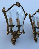 French Gilded Bronze Twin Light Sconces Wall Lights with Curvaceous Glass (7 of 12)