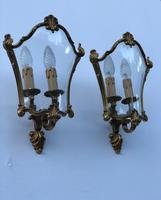French Gilded Bronze Twin Light Sconces Wall Lights with Curvaceous Glass (9 of 12)