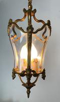 French Gilded Bronze Triple Light Hall Lantern (2 of 9)