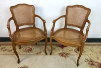 Vintage French Pair of Bergère Cane Dining Carver Chairs Louis Style (10 of 10)