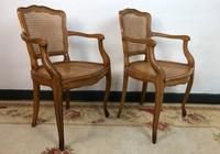 Vintage French Pair of Bergère Cane Dining Carver Chairs Louis Style (3 of 10)