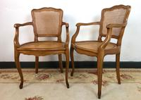 Vintage French Pair of Bergère Cane Dining Carver Chairs Louis Style (4 of 10)