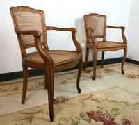 Vintage French Pair of Bergère Cane Dining Carver Chairs Louis Style (6 of 10)