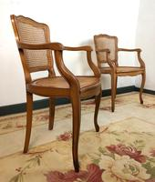 Vintage French Pair of Bergère Cane Dining Carver Chairs Louis Style (7 of 10)